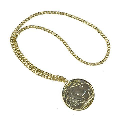 Kostüm Medallion Gold Halskette - Bristol Novelty BA314 Medaillon Accessoire, Gold, unisex - erwachsene, Einheitsgröße