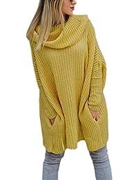 Mikos  Modischer Kuschelig Pulli mit Rollkragen Lässig Pullover Sweater  Longshirt Tunika Strickpullover… c29e6ba10e