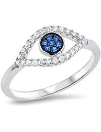 Sterling Silver Blue Sapphire CZ Evil Eye Ring