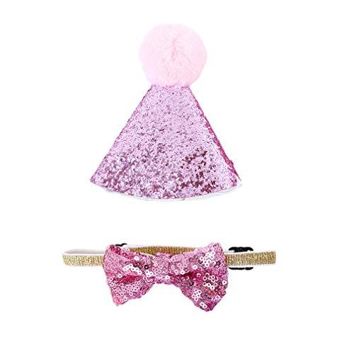 HENGSONG Hausgemachte Katze Hund Bogen Kopfbedeckungen Hut Geburtstag Kostüm Festliche Party Dress Up, Pink