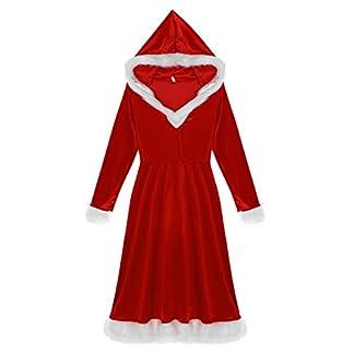 dPois Disfraz Miss Santa Navidad Vestido con Capucha Cosplay Traje de Terciopelo para Mujer Chica Atractiva Sra. Mamá Noel Ropa de Fiesta Navidad Carnaval Vestido