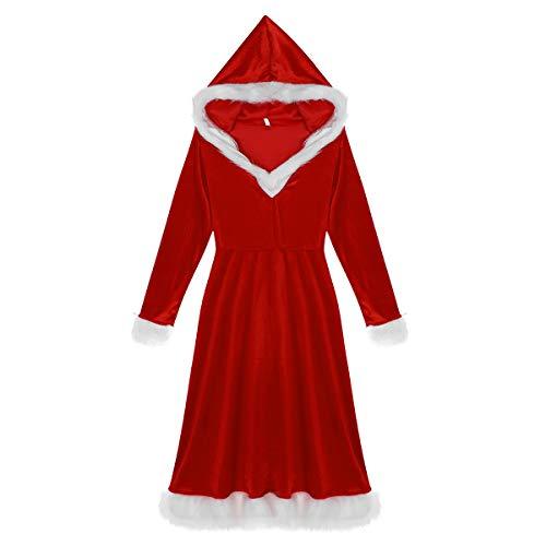 dPois Disfraz Miss Santa Navidad Vestido con Capucha Cosplay Traje de Terciopelo para Mujer Chica Atractiva Sra. Mamá Noel Ropa de Fiesta Navidad Carnaval Vestido Rojo X-Large