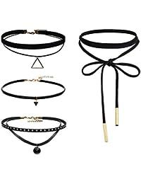 Elegante rosa 4piezas gótico cadena de piel collar de terciopelo borla de Gargantilla Collar para las mujeres niñas