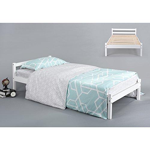 Holz Bett ihouse natur stabiles Einzelbett Kiefer massiv Holz Rahmen weiß (Kinder-einzelbett-rahmen Für Mädchen)