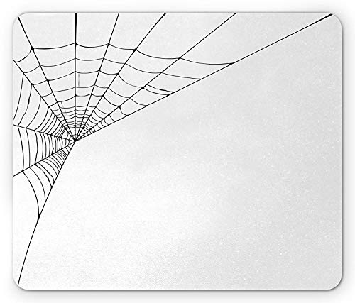 BAOQIN Mouse Pad,Modern Mouse Pad, Spider Web Icon Background Abstract Form Halloween Scary Evil Themed Illustration, Standard Size Rectangle Non-Slip Rubber Mousepad, Black White (Scary Pics Halloween)