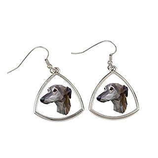 Windhund, Sammlung von Ohrringen mit reinrassigem Hund, geometrisch