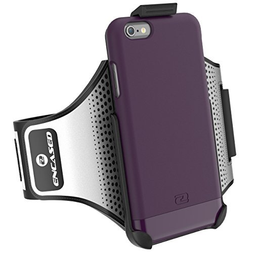 "iPhone 6 Plus 5.5"" Armband & Sport Case (2 pc set) Includes: Encased Click-N-Go Arm Band + Hybrid Cover (Royal Purple) Royal Purple"