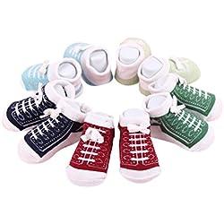 Calcetines lindos del tobillo del bebé recién nacido para 0-6 meses Calcetines unisex del algodón de los muchachos de las niñas bebé 5 pares / set