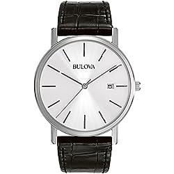Bulova Classic 96B104 - Reloj de pulsera de diseño elegante para hombre - Correa de cuero - Acero inoxidable - Negro
