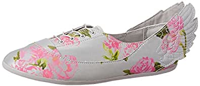 adidas Originals Women's Js Wings Easy5 Floral Grey, Pink and Green Leather Sneakers - 6 UK