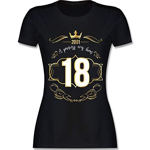 Geburtstag - 18 Geburtstag Prinzessin Mädchen 2001 - M - Schwarz - L191 - Damen T-Shirt Rundhals