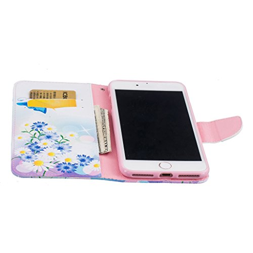 Mo-Beauty® Cover a portafoglio per iPhone 7 [protezione per schermo inclusa] Custodia a portafoglio in eco-pelle per Apple iPhone 7, con disegno colorato e chiusura magnetica, tasca per carte e suppor Blue butterfly