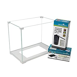 All Pond Solutions 16L Small Ultra Clear Glass Nano Aquarium Fish Tank Starter Kit Set With Filter And Light