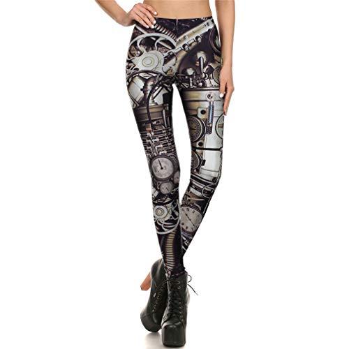 Amarma Mecánica Dial Entrenamiento Steampunk Leggings Mujeres Impresión 3D Summer Gear Mujer Slim Lady Sexy Leggins Pantalones WM-KDK-72002 XL