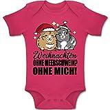 Shirtracer Weihnachten Baby - Weihnachten ohne Meerschwein? Ohne Mich! - schwarz - 1/3 Monate - Fuchsia - BZ10 - Baby Body Kurzarm für Jungen und Mädchen