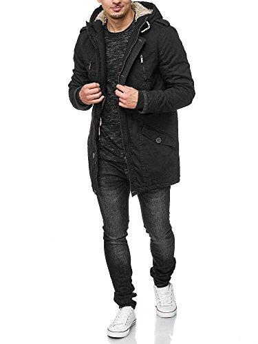 !Solid Herren Tejs warm gefütterter Parka mit Fellkapuze Winter Mantel Jacke Winterjacke Wintermantel 9000 Black S - 2