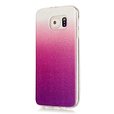 KSHOP TPU Étui Coque - Transparente Silicone Housse pour Samsung Galaxy S6 Briller Cover Ultra Flexible Couleur Changement Hybride Anti-rayures Absorption Protecteur Affaire - Pourpre et Rouge