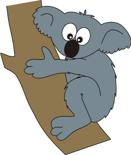 T-Shirt E576 Schönes T-Shirt mit farbigem Brustaufdruck - Logo / Grafik - Comic Design - Koala Bär am Baum in Australien Schwarz
