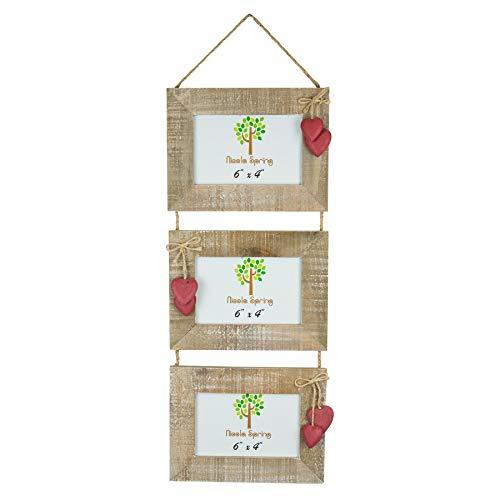 Nicola Spring Cadre pour 3 Photos en Bois - à accrocher - Coeurs Rouges - 15,2 x 10,1 cm (6 x 4)