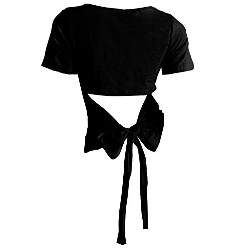 MagiDeal Damen beiläufige Oberteile Kurzarm Bluse Sommer Tops Lose Hemd Shirt mit bogen Schwarz
