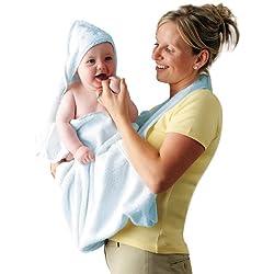 Clevamama Splash&Wrap - Toalla delantal de baño con capa - Azul