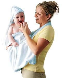Clevamama Asciugamani Grembiule Neonati - Asciugamano Bagnetto con Cappuccio - Blu