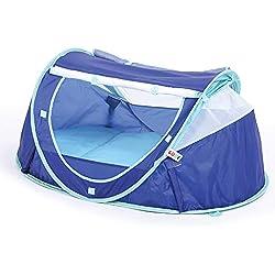 """LUDI - Tente nomade """"Bleue"""" pour bébé, dès la naissance. Lit d'appoint léger (moins de 2 kg) + matelas épais. Tissu avec Protection UV 50. Se plie et se range facilement dans un sac inclus - 2301"""