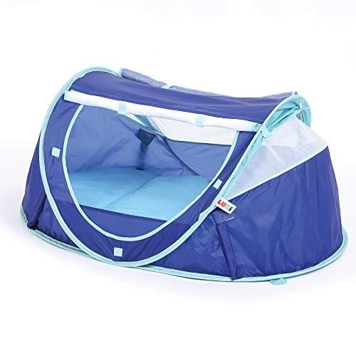 LUDI - Tente nomade 'Bleue' pour bébé, dès la naissance. Lit d'appoint léger (moins de 2 kg) + matelas épais. Tissu avec Protection UV 50. Se plie et se range facilement dans un sac inclus - 2301