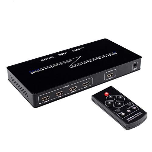 4K HDMI 4x1 Quad Multiviewer Splitter mit Nahtloser Switcher IR-Steuerung Quad Switcher