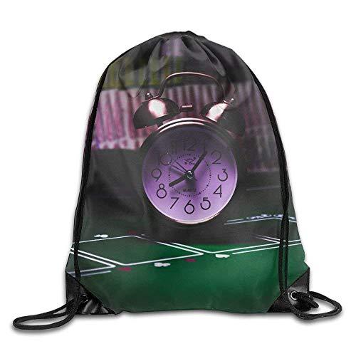 (WCMBY Silver Bell Clock On Casino Table Drawstring Bag for Traveling Or Shopping Casual Daypacks School Bags)
