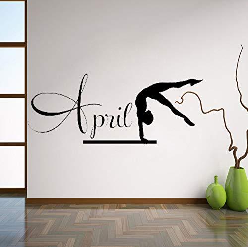 Turner Wandkunst Aufkleber Custom Name Vinyl Aufkleber Wohnkultur Gymnastik Trikot Griffe Mädchen Schlafzimmer Dekoration 56x42cm (Turner Trikots)