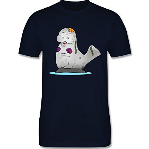 Sonstige Tiere - Meerjung-Seekuh - Herren Premium T-Shirt Navy Blau
