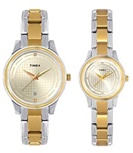 Timex Classics Analog Gold Dial Couple's Watch - TI00PR18200