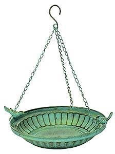 east2eden Greek Style Hanging Bird Bath Birdbath Wild Birds Feeder Garden Ornament (Antique Green)