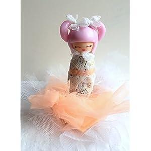 Figur, Kokeshi, Fimo, Tatsache Hand/Benutzerdefiniert/Dekoration Kuchen/Geburtstag/Taufe/Spitze/Kimono weiß/Rose/Tischdekoration