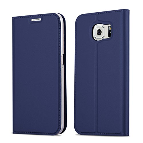 Samsung Galaxy S6 Hülle in DUNKEL-BLAU von Cadorabo - Handy-Hülle im Metallic Look mit unsichtbarem Magnet-verschluss und Karten-Fach Case Cover Schutz-hülle Etui Tasche Book Klapp Style (Samsung Galaxy S6 Wallet Case)