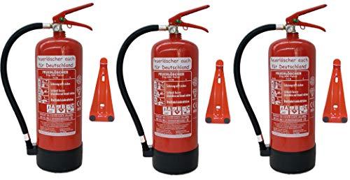 3 x 6 kg ABC Pulver Feuerlöscher NEU Orginalverpackt Brandklasse ABC, EN3, 34 A, 183 B, C = 10 LE, Messingarmatur + Sicherheitsventil + Manometer + Wandhalter + Standfuß, Pulverlöscher
