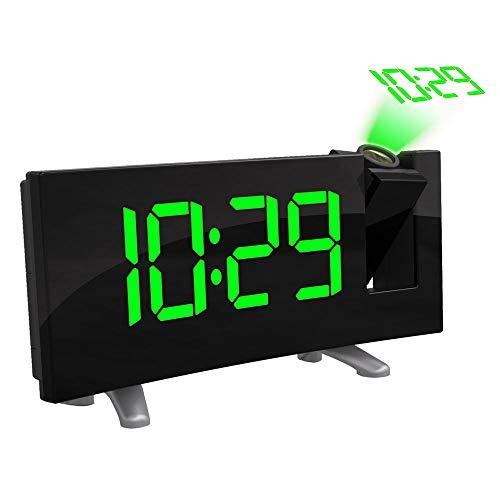ONEVER Digitale LED-Projektoruhr, Gebogene LED-Anzeige (FM 7,1 '') mit Radiowecker-Dimmer-Deckenanzeige USB-Ladegerät (Green)