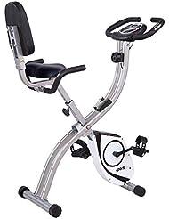 SportPlus Cyclette da Casa Pieghevole, Sellino Comodo con Schienale e Maniglie Laterali, 8 Livelli di Resistenza, Sensori Pulsazioni Integrati nel Maubrio, S-Bike Richiudibile, Bicicletta da Camera per Uso Domestico, Sicurezza Testata