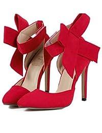 SERAPH SHOES B-621 Zapatos De Tacón De Aguja Del Bowknot Del Ante Del Dedo Del Pie De Las Mujeres Bombas De Velcro Vestido De Fiesta…