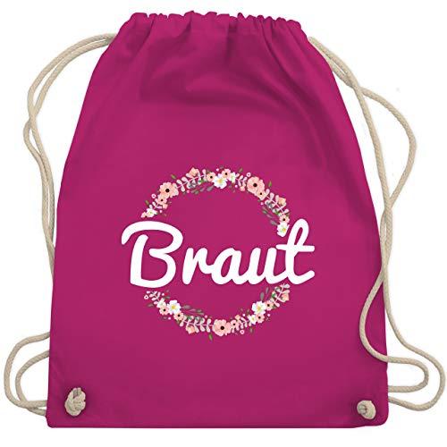 JGA Junggesellinnenabschied - Braut Blumenkranz - Unisize - Fuchsia - WM110 - Turnbeutel & Gym Bag (Frau Kostüm Hat)