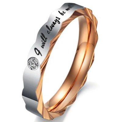 "JewelryWe Schmuck 1 Paar Partnerringe, Freundschaftsringe, Edelstahl, ""I Will Always Be with You"", Damen Herren Ringe, Schwarz Gold Silber"