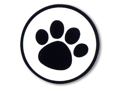 100 Dog Animal Paw Print Sticker 1-1/2 Black Clear Round Stickers Seals (Strip of 100) by Sprinkles Gifts (Paw Print Black)