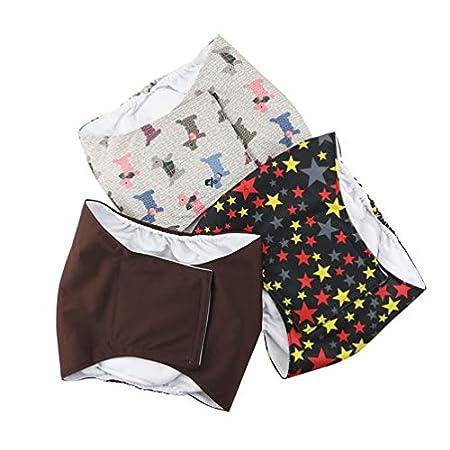 Hanyi 3 Stück Waschbare & Wiederverwendbare Hundewindeln Weich Atmungsaktiv Physiologische Hosen Bauchband für Männliche…