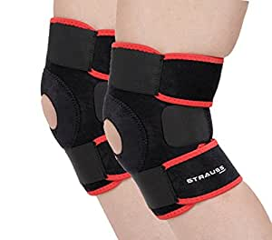Strauss Adjustable Knee Support Patella, Free Size (Black), Pair