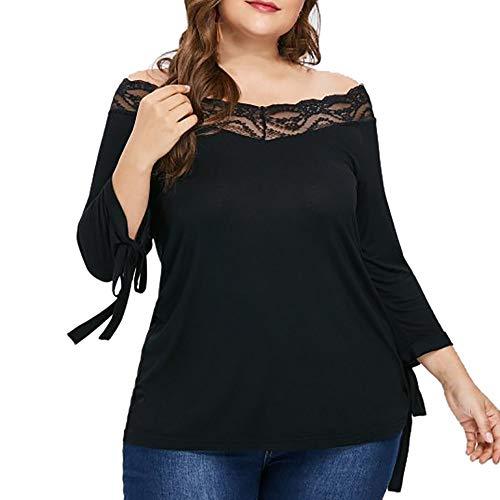 Vovotrade ▼ one-spalla cinghie, moda donna casual grandi dimensioni polsini pizzo cuciture off-spalla t-shirt top
