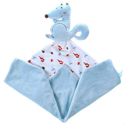 Labebe Infant Baby Toddler Comfort/Security Blanket for Girls & Boys with Plush Stuffed Animals & Rattle & Teether, Travel Comforter Toy, Bedtime Cuddle Soother Toy - Blue Squirrel