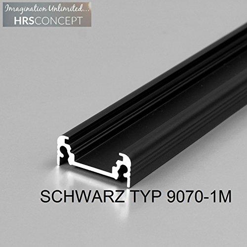 Fünf Licht Wandleuchte Strip (LED Alu Profil Leiste für LED Streifen / SCHWARZ TYP 9070 1M OPAL / HELITEC Aluminium Abdeckung Profil Streifen Schiene für LED-Strip Streifen Band schwarz)