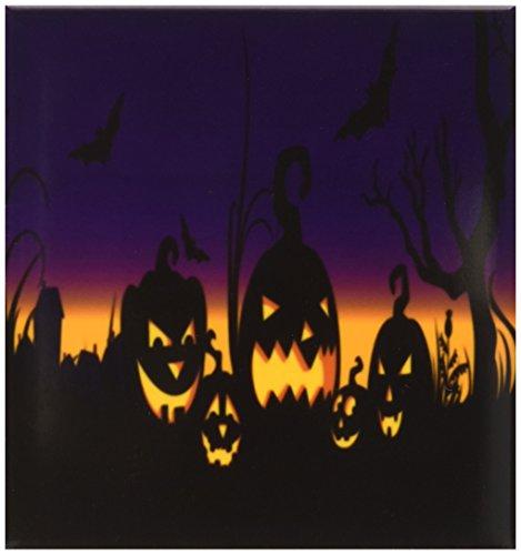 Rikki Knight Halloween-Kürbisse auf lila Keramikfliese, 10 x 10 cm