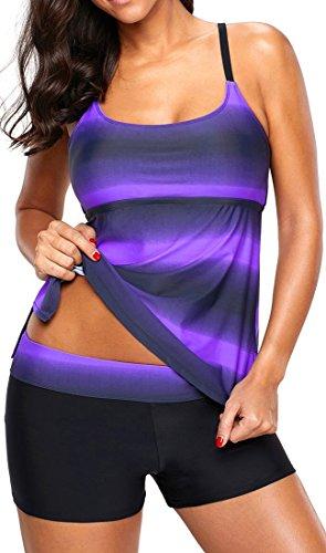 Eudolah Damen Mehrfarbig X-Back Tankini mit Hotpants Shorts Bademode mit Bügeln UV Schutz (XL (EU 40-42), Violett)